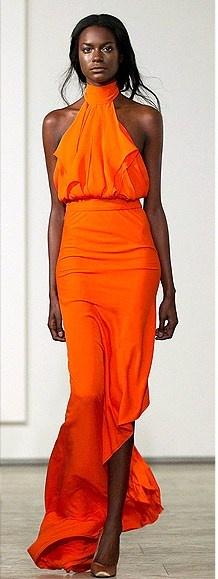 Juan Carlos Obando orange gown