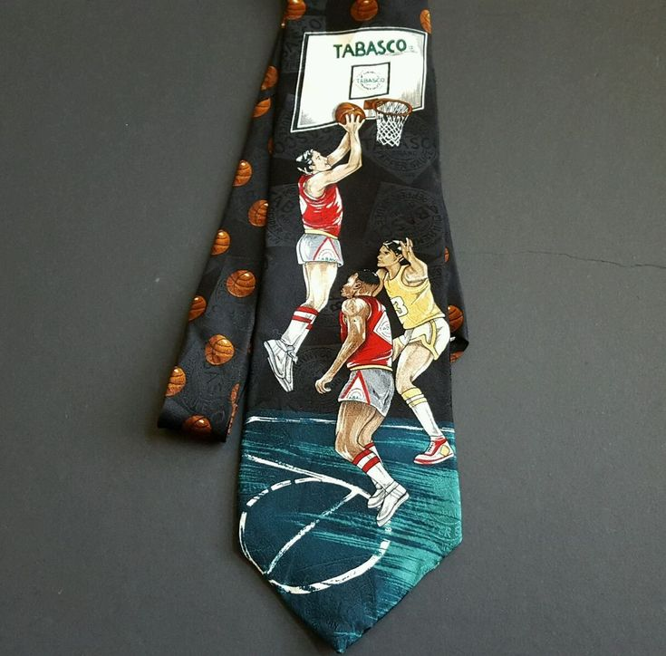 Tabasco Basketball Novelty Tie Men's Necktie Black Teal  #Tabasco #Tie