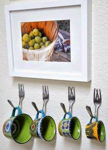 Ganchos para cozinha feito com garfos