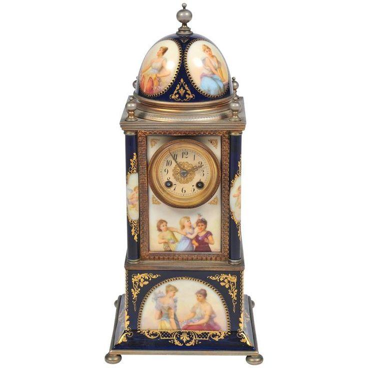 19th century vienna porcelain mantel clock - Mantel Clock