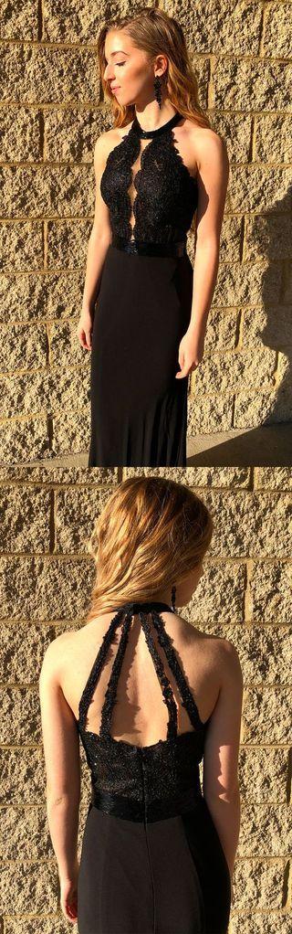 black mermaid long prom dress evening dress, 2019 prom dress party dress formal evening dress, F0848