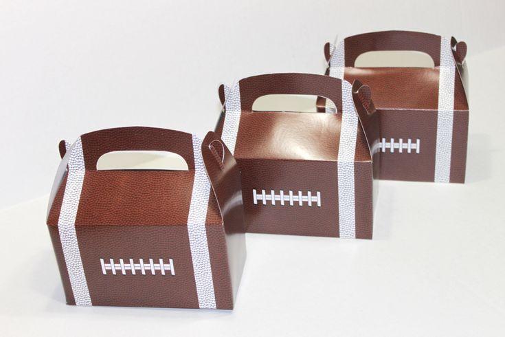 Football favor box, football gable box, football party favor, candy box, football shower favor, football birthday favor, football party by OneFinePartyTwo on Etsy https://www.etsy.com/listing/268719796/football-favor-box-football-gable-box