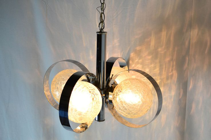 1970s Italian Chrome Ring Chandelier with Crackle Glass Globes by OffCenterModern on Etsy