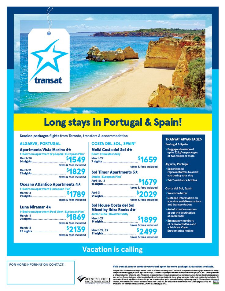Book your Long stay to Portugal & Spain.   Tel 705 279 2454 srobinson@travelonly.com @hellovacation