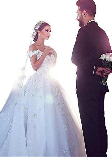 Dressylady Romantic Off the Shoulder Appliques Ball Gown Wedding Dress for Bride