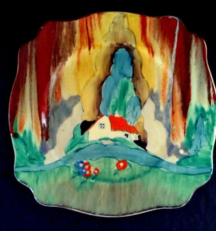 FOR SALE A CLARICE CLIFF FOREST GLEN LARGE LEDA PLATE, ONE OF CLARICES MOST DRAMATIC LANDSCAPES IN PERFECT CONDITION, ENAMELS VIVID AND BRIGHT, WITH NO CHIPS, CRACKS OR RESTORATION, MINIMUM WEAR, MARKED CLARICE CLIFF. | eBay!