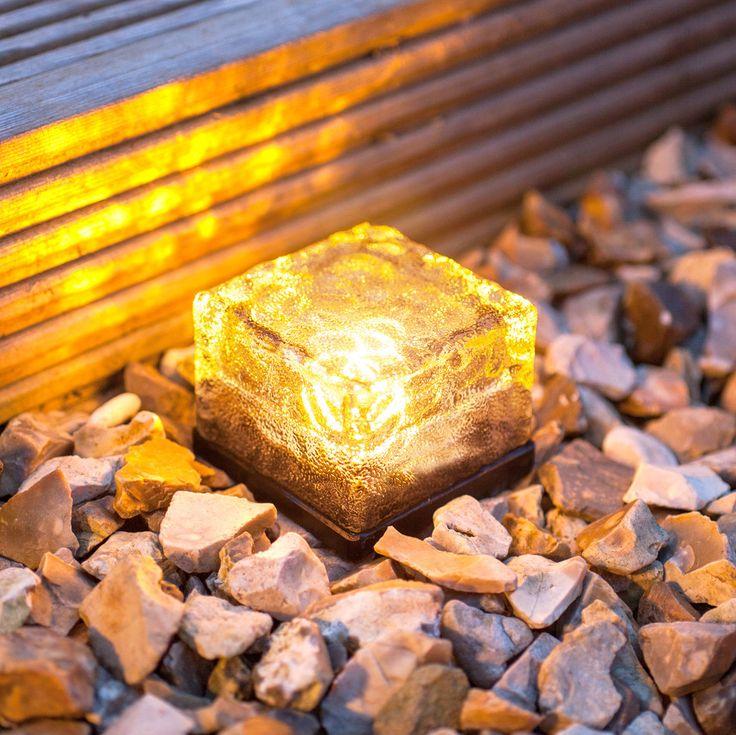 Small Warm White LED Glass Brick Solar Garden Path Light