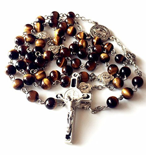 "elegantmedical CATHOLIC NICE St. Benedict Tiger Eye Beads gift Rosary Necklace Cross Jerusalem  NICE St. Benedict Tiger Eye Beads gift Rosary Catholic Necklace Cross Jerusalem  ITALY St.Benedict Cross : 4.5cm . ITALY Lourdes water MEDAL : 1.6CM,Metal Plated Silver,  Rosary Size: 20"" (50cm) Length from the cross to the end  Chain and wire material: White copper, BEAD:6 MM  Weight : 100 g , Brand New, gift box"
