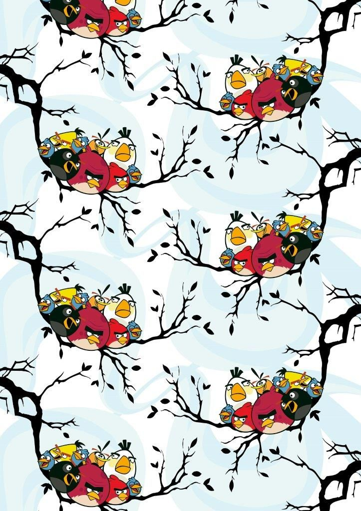 """Birds on a tree"" fabric,150 cm - Angry Birds Interior Collection by Vallila"