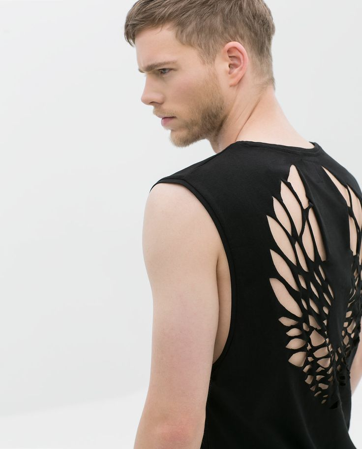 T shirt with laser cut back from zara men fashion for Cut shirts for men