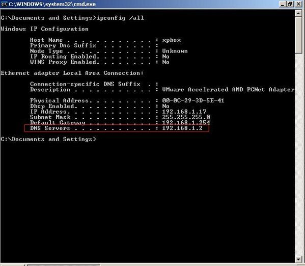 MS-Windows Operating Systems Find DNS Server Addresses