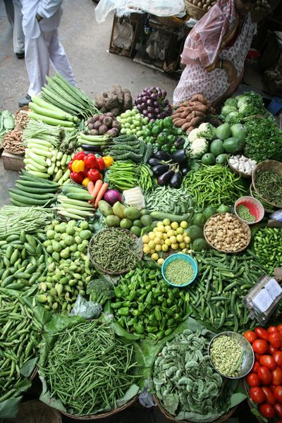 produce at a market in Mumbai