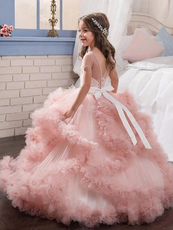 fe8fe3b749b Ball Gown Jewel Short Sleeves Crystal Floor-Length Tulle Flower Girl Dresses