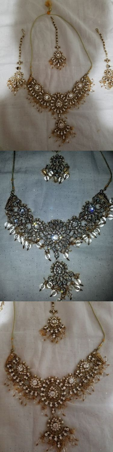 Other Asian E Indian Jewelry 11313: Indian Gold Necklaces Set -> BUY IT NOW ONLY: $70 on eBay!