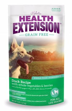 Health Extension Grain Free Duck and Chickpea dry dog food. All natural and American made. For a healthy life!