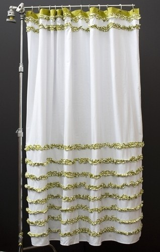 Shower Curtains - buy chenille robe/bedspread and use for shower curtain.
