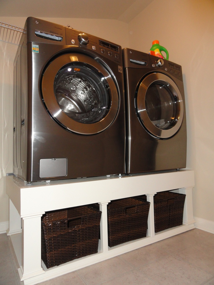 Laundry Room Pedestal With Wicker Baskets For The Home