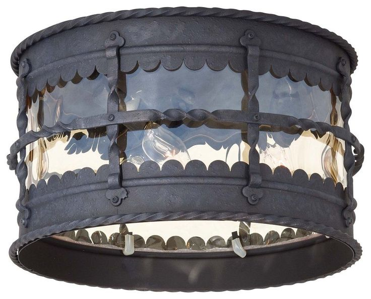 The Great Outdoors GO 8889 3 Light Flush Mount Ceiling Fixture from the Mallorca Mediterranean Iron Outdoor Lighting Ceiling Fixtures Flush Mount