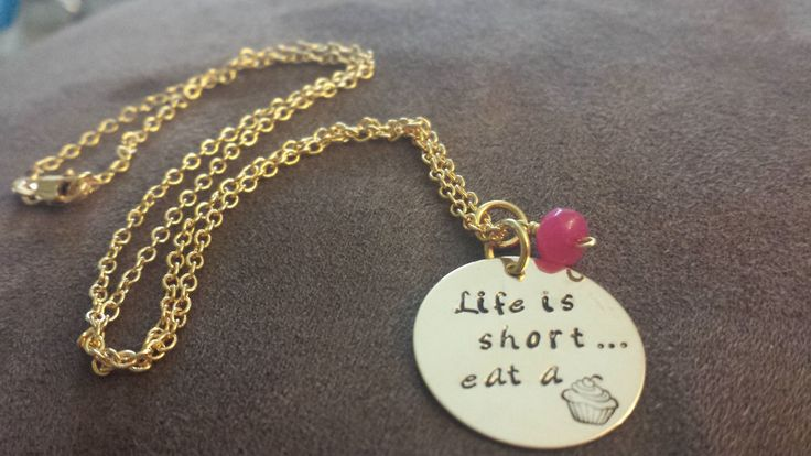Eat A Cupcake Hand stamped Necklace by NRoAccessories on Etsy