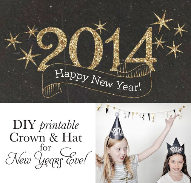 Fun New Year's Eve crown and hat printable. So easy to make!