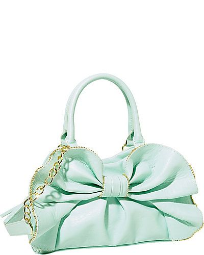 Mint Betsey Johnson Bag.... Gasp... Mint... Betsey Johnson... Purse.... With a big bow.... Must have.... Now!