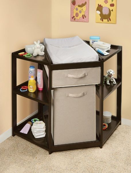 Espresso Diaper Corner Changing Table with Hamper Basket   Changing Tables   Baby Accessories at AmeriProd.com