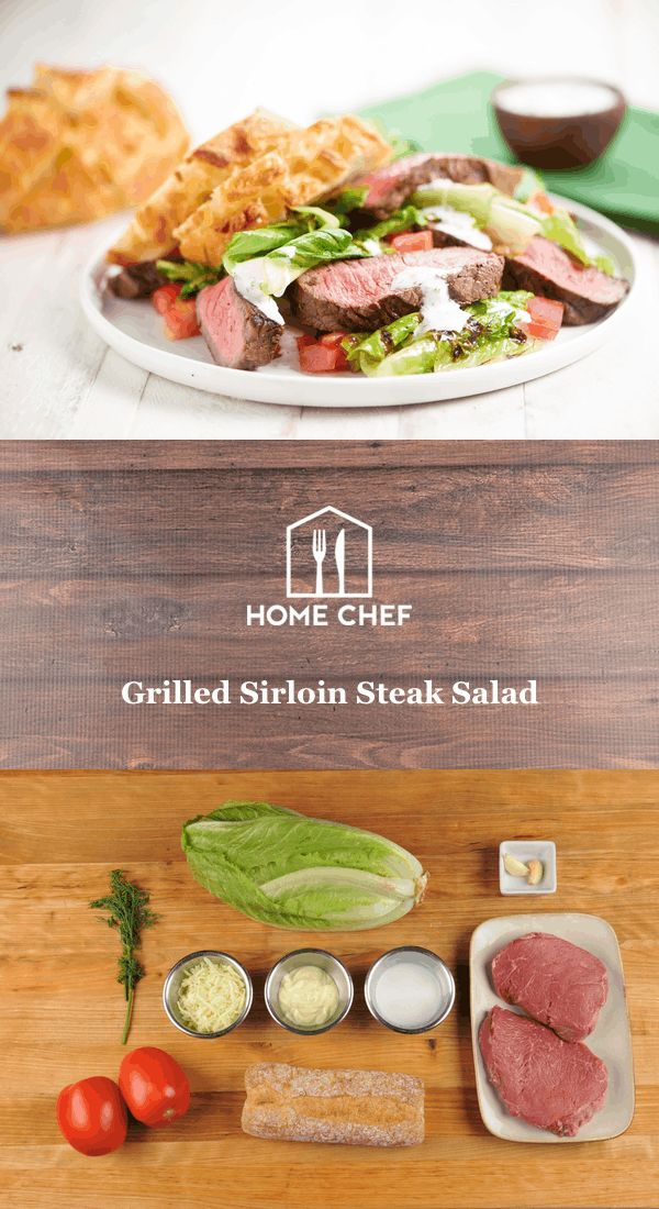 Grilled Sirloin Steak Salad  with cheesy garlic bread and herbed buttermilk dressing
