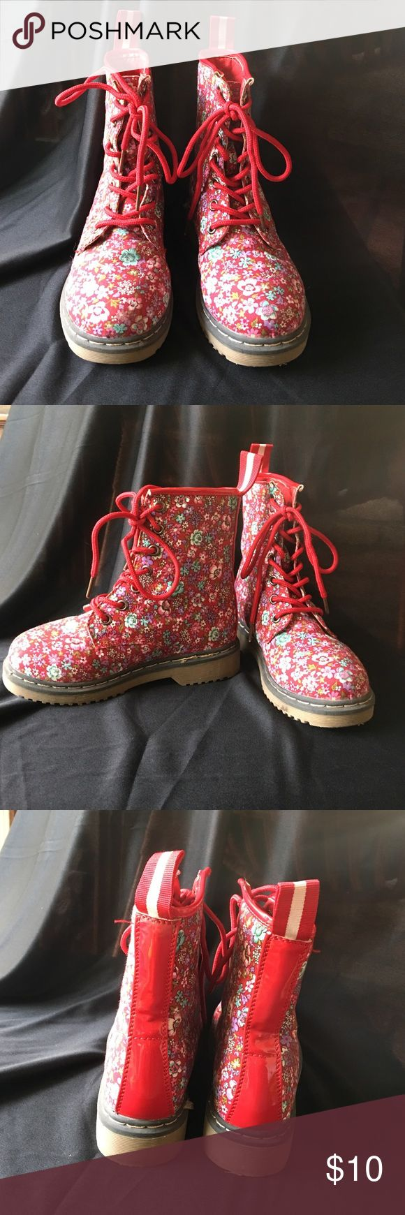 Red floral combat boots Red floral print combat boots.  Lace up Link Shoes Boots