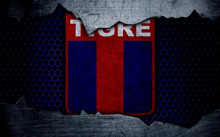 Descargar fondos de pantalla Tigre, 4k, Superliga, logotipo, grunge, Argentina, CA Tigre, fútbol, club de fútbol, de metal textura, el arte, el Tigre FC