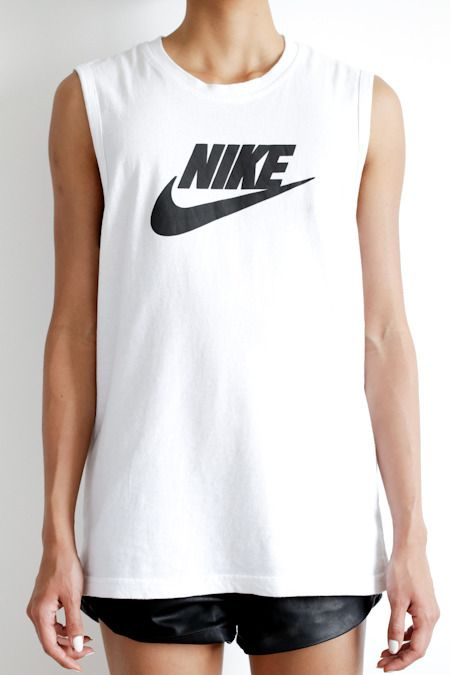 Nike Tee and leather shorts (shop your perfect leather garments at www.