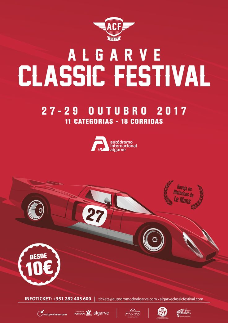 Algarve Classic Festival: 27-30 October in Portimão Circuit | via VisitportugalBlog | 24/10/2017 Don't miss the biggest classic cars event in the south of Europe that takes place at the Algarve between the 27th and the 30th October. #Portugal