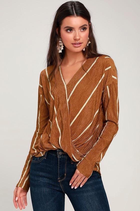 71e7e3bc5bb  NewYear Sale!  EnvyWe  Lulus -  Lulus Brinley Rust Brown Striped Long  Sleeve Surplice Top - Lulus - EnvyWe.com