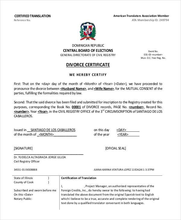 11 Divorce Certificate Templates Free Printable Word