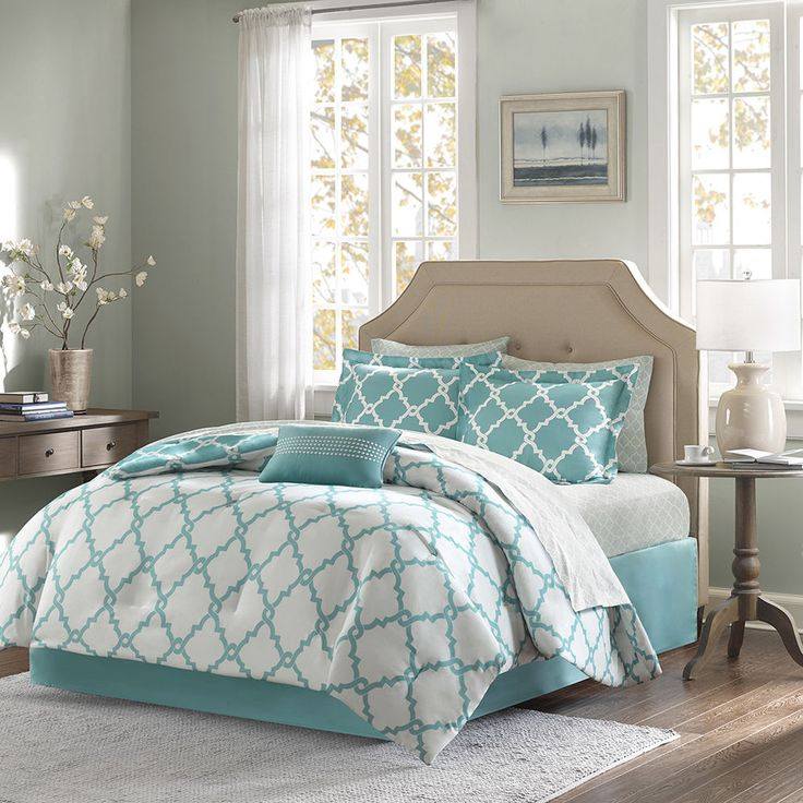 Fretwork Chic Pattern Aqua Reversible White Comforter Cotton Sheet Set 9 pcs New