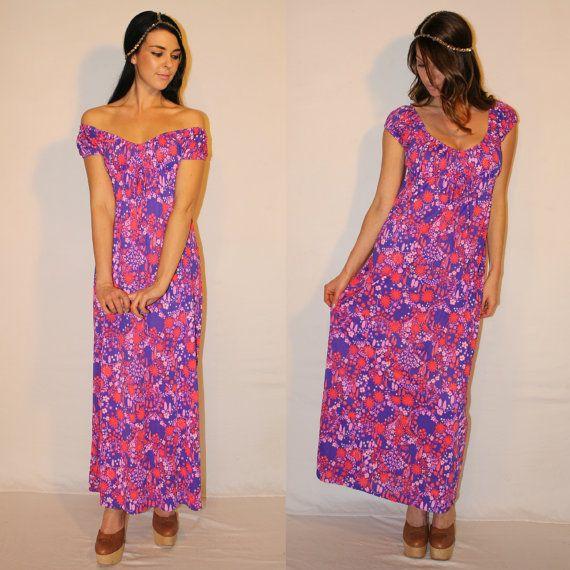 Vintage Trippy Maxi Dress, 70s Empire Waist Purple Festival Dress, Off the Shoulder Goddess by Dreamaway on Etsy, $104.00