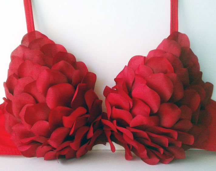 Red Rose #DIY Bra for Valentine's Day Brides. Now that's a DIY we can get behind :)