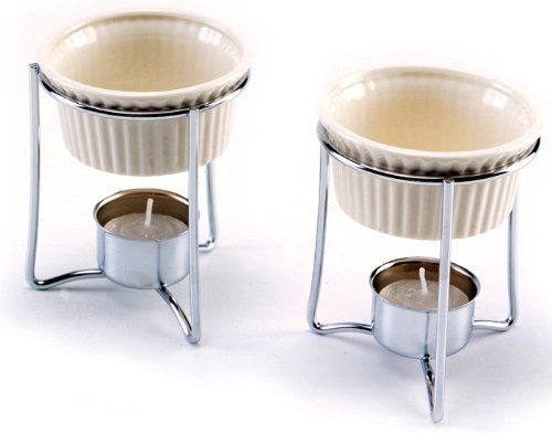 Norpro 215 Butter Warmers, set of 2 by Norpro. $9.05. Set includes two stainless steel holders, two ceramic butter dishes and two tea lights. Dishwasher safe. Each dish holds 3 ounces/1/3 cup.. Wonderful for butter and delicate sauces when serving seafood or vegetables. The ceramic dish maintains the heat, without scorching or curdling. Set includes two stainless steel holders, two ceramic butter dishes and two tea lights. Each dish holds 3 ounces/1/3 cup. Dis...