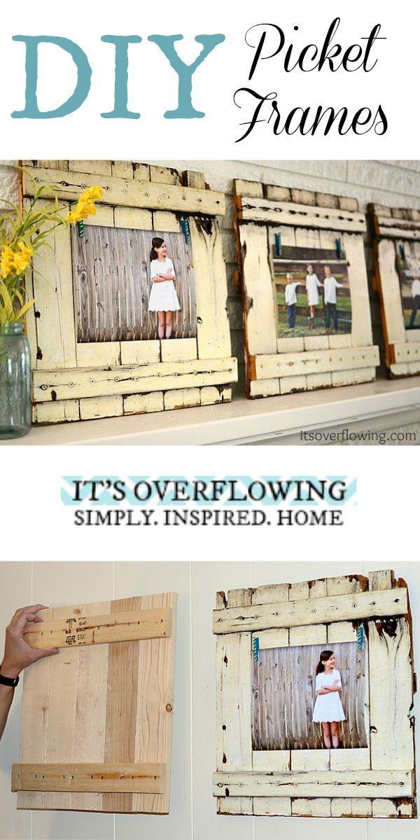 DIY Picket Frame Tutorial - Easy and SO Cute! @ItsOverflowing.com.com.com.com.com.com.com.com.com