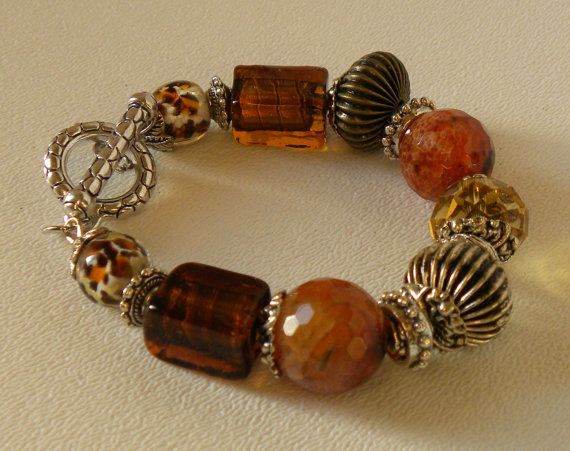 Crabfire Agate Handmade Beaded Bracelet by bdzzledbeadedjewelry, $33.00