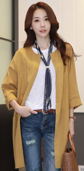 StyleOnme_Dailywear Open-front Collarless Jacket #mustard #jacket #koreanfashion #kstyle #kfashion #springtrend #dailylook