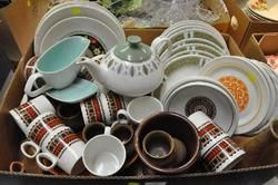 DINNERWARE - Quantity of Retro Plates Bowl Cups and Poole Pottery Gravy Boat