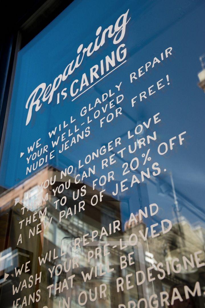 Nudie Jeans store & Global Repair Station, London denim