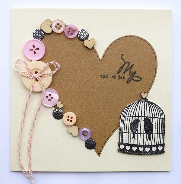 Svatební blahopřání Knoflíkové srdce crafty
