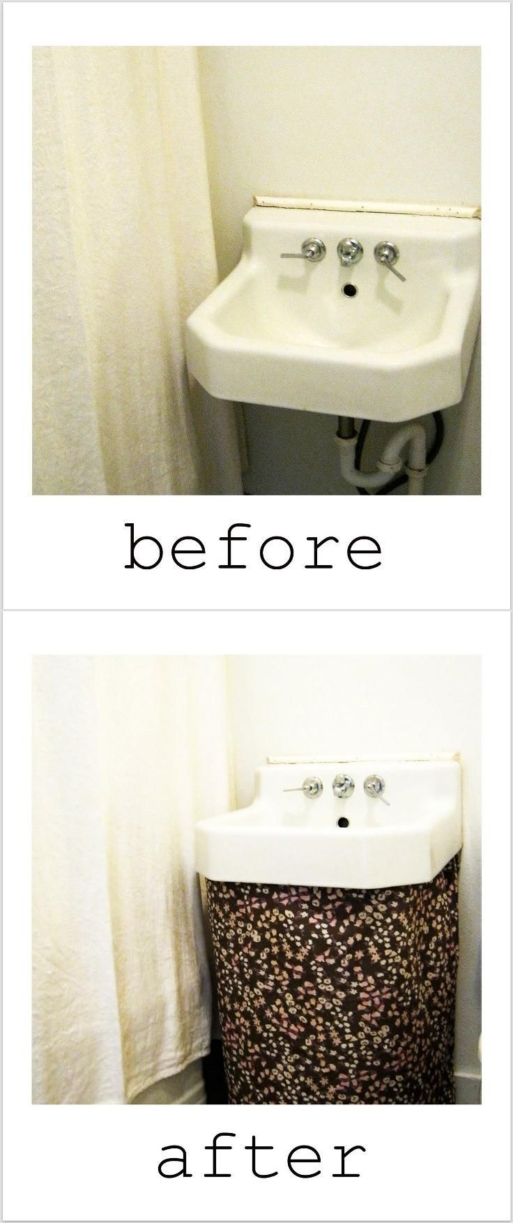Top 10 DIY Projects for Renters: Sew a sink skirt to hide pipes.