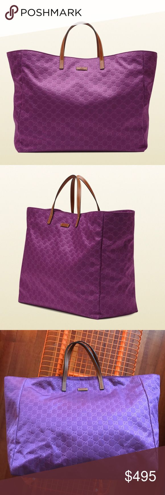 """GUCCI - Monogram Violet Nylon XL Tote Bag Gucci XL Violet Nylon Tote Bag  100% AUTHENTIC GUARANTEED!  Waterproof Nylon. Violet (best captured in the first 2 images from Gucci.com). Leather handles.  Great pre-owned condition, everything is in excellent besides a mark at the bottom left side of the bag (circled in white), everywhere else is perfect. Handles are excellent, interior is excellent.  Measurements: Length - 18"""" Top Length - 25"""" Height - 14.5"""" Width - 8"""" Handle Drop - 5.5""""  No box…"""