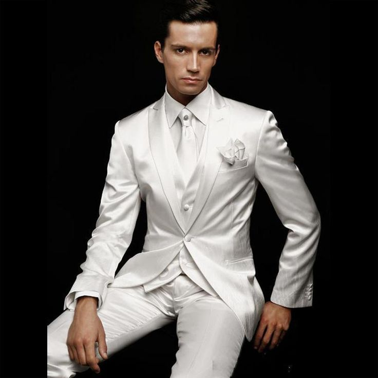 ==> [Free Shipping] Buy Best Designer 2017 White Satin Men Suit Groom Wear Formal Tuxedos For Men's Wedding Traje De Novio (JacketPantVestTieHandkers) Online with LOWEST Price | 32733380335