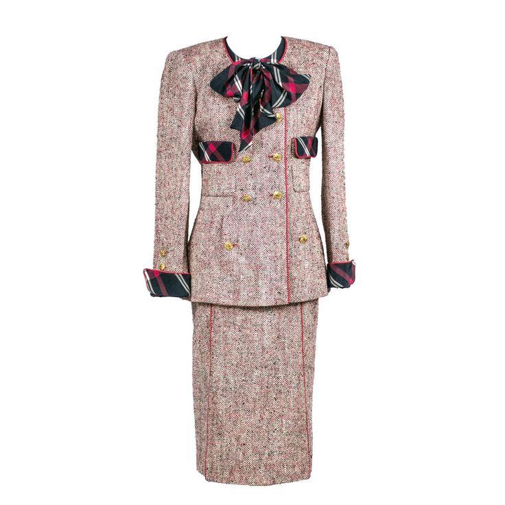 Authentic Vintage Chanel Boutique 3 Piece Vintage Skirt Blazer Suit Silk Blouse…