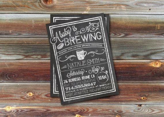 CUSTOM Baby Shower Invitation Bistro/Coffee by dearkatehandmade