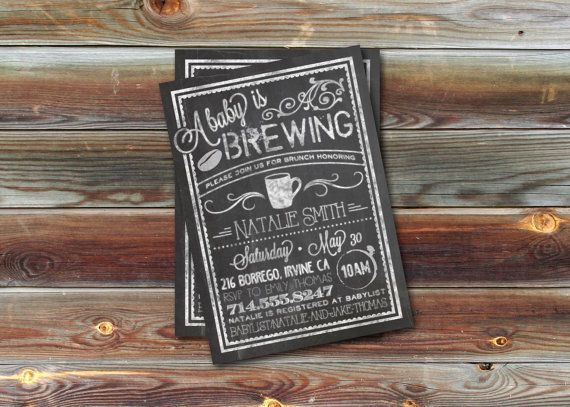 CUSTOM Baby Shower Invitation Bistro/Coffee by dearkatehandmade