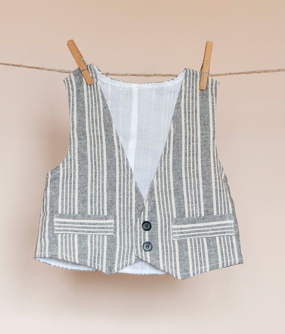 Boys vest with grey stripes by TheElfShopDesigns on Etsy